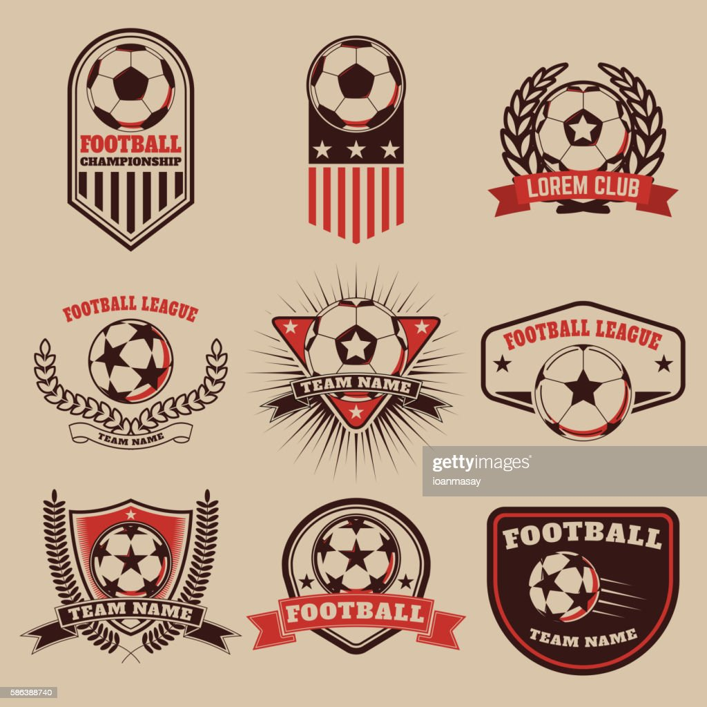 Set of the  football labels, emblems and design elements.