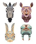Set of the geometric abstract animals head
