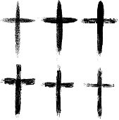 Set of the hand drawn grunge crosses. Religious symbols.