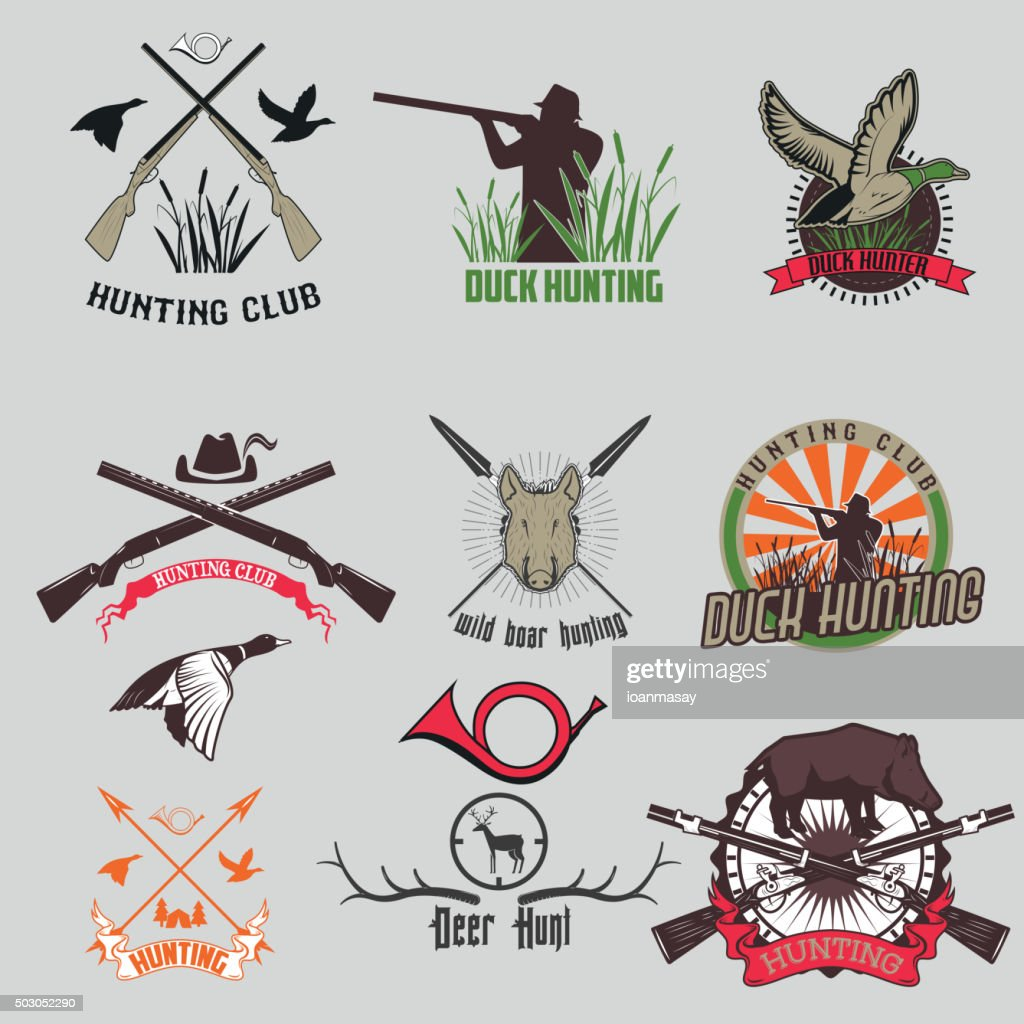 Set of the hunting labels and badges.