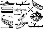 Set of the kayaking sport icons. Canoe, boats, oarsmans. Design elements for label, emblem, sign. Vector illustration