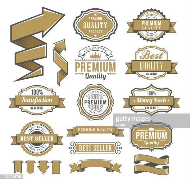 set of the ribbons and badges - web banner stock illustrations