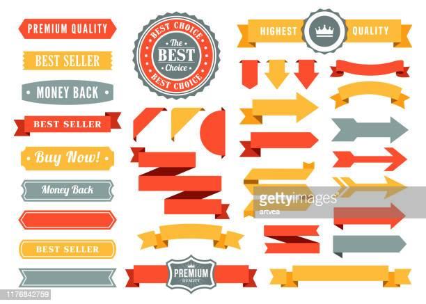 satz der bänder und abzeichen - rosette stock-grafiken, -clipart, -cartoons und -symbole