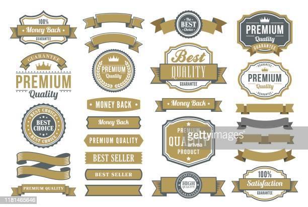 satz der bänder und abzeichen - banneranzeige stock-grafiken, -clipart, -cartoons und -symbole