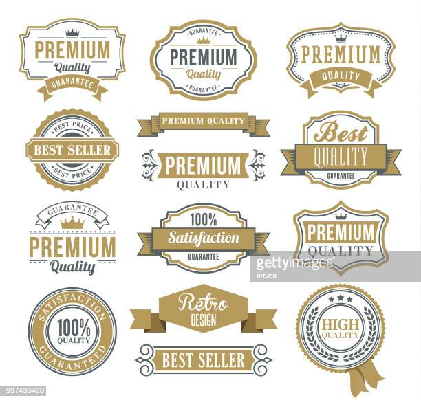 set of the ribbons and badges - banner sign stock illustrations