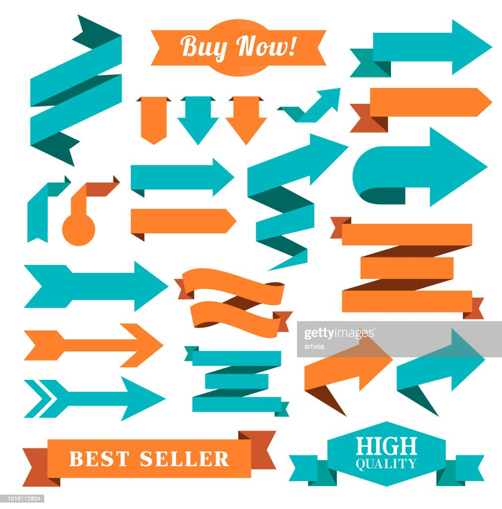 Set of the Ribbons, Badges and Arrow : stock illustration