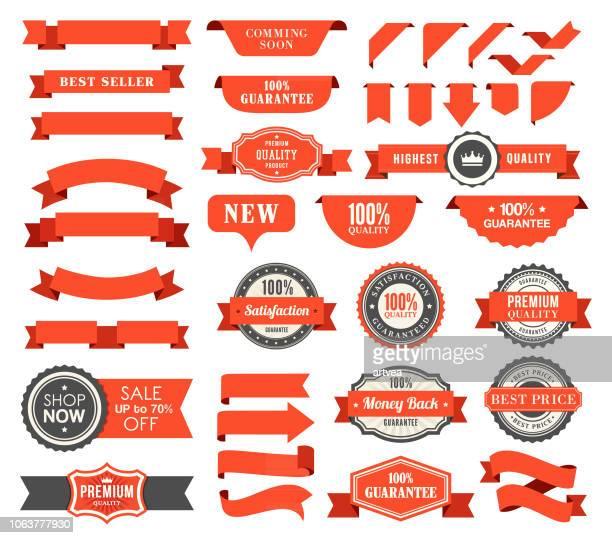 set of the ribbons - ribbon sewing item stock illustrations
