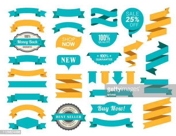 satz der bänder - spruchband stock-grafiken, -clipart, -cartoons und -symbole