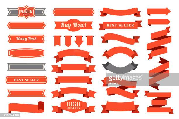 set of the ribbons - banner sign stock illustrations