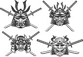 set of the samurai helmets with swords isolated on white background. Design elements for label, emblem, poster, t-shirt. Vector illustration.