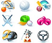 Set of the shiny sport equipment icons
