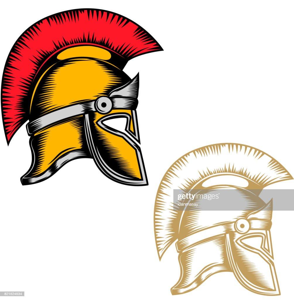 Set of the spartan helmets isolated on white background. Design elements for label, emblem, sign, brand mark. Vector illustration