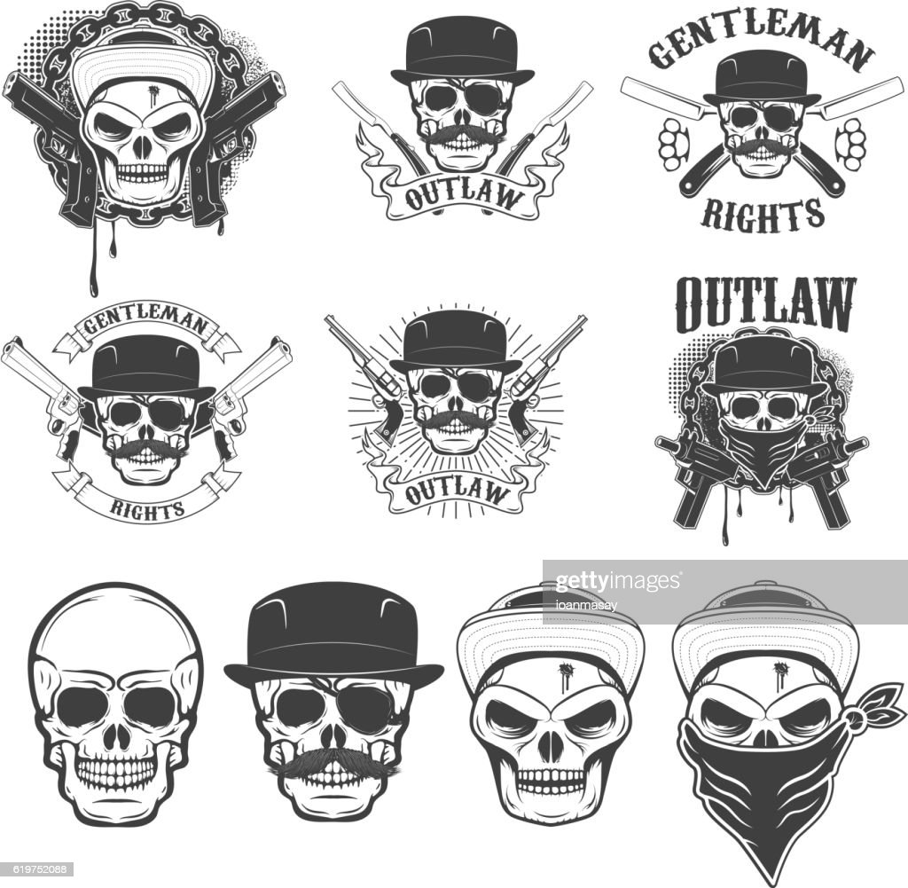 Set of the stickers with gangster skulls and weapon.