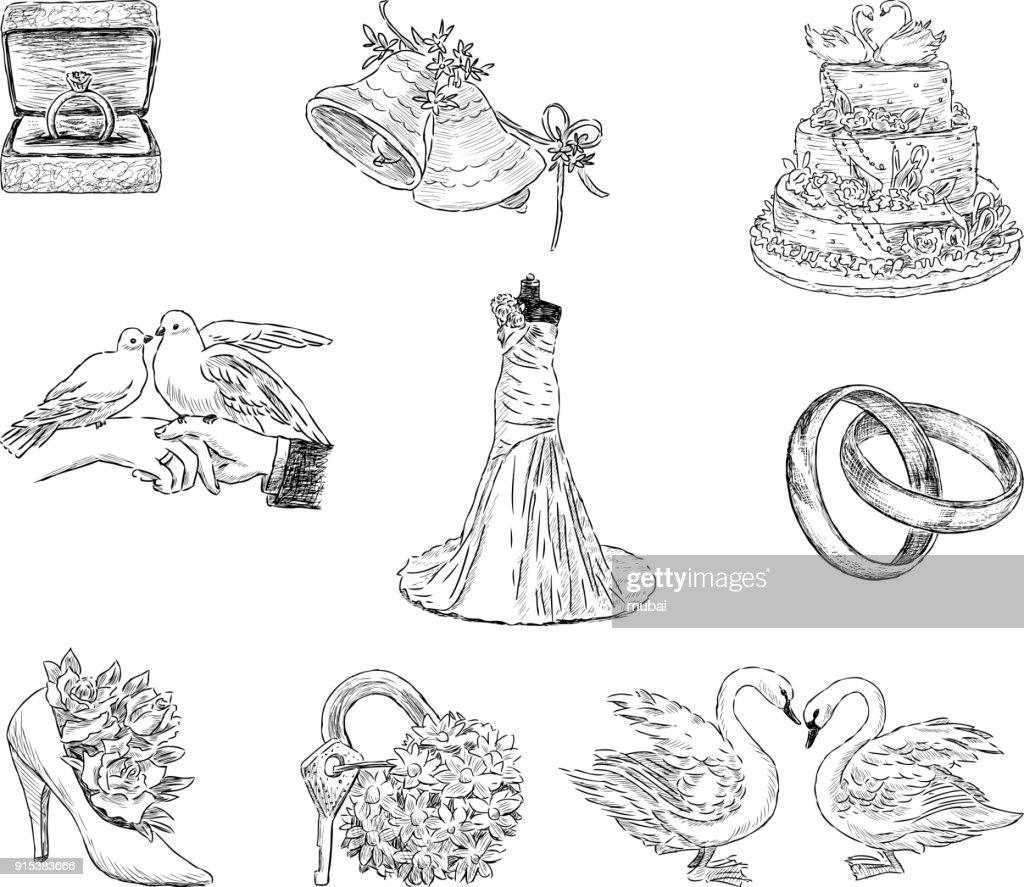 Set of the wedding symbols
