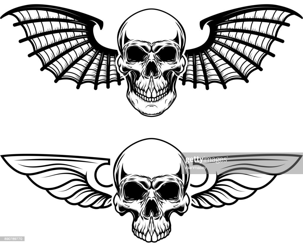 Set of the winged craniums. Skull with bat wings. Design elements for label, emblem, sign, t shirt. Vector illustration