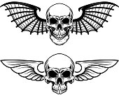 Set of the winged craniums. Skull with bat wings. Design elements for label, emblem, sign, t shirt. Vector illustration