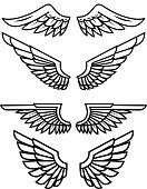 Set of the wings isolated on white background. Design elements for label, emblem, sign, badge. Vector illustration
