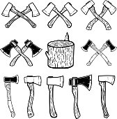 Set of the wood cuts, lumberjack axes. Design elements for label, emblem, sign, badge. Vector illustration