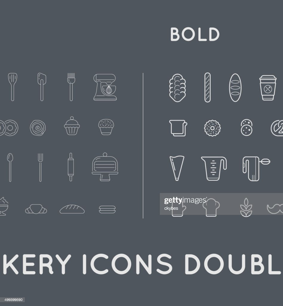 Set of Thin and Bold Vector Elements