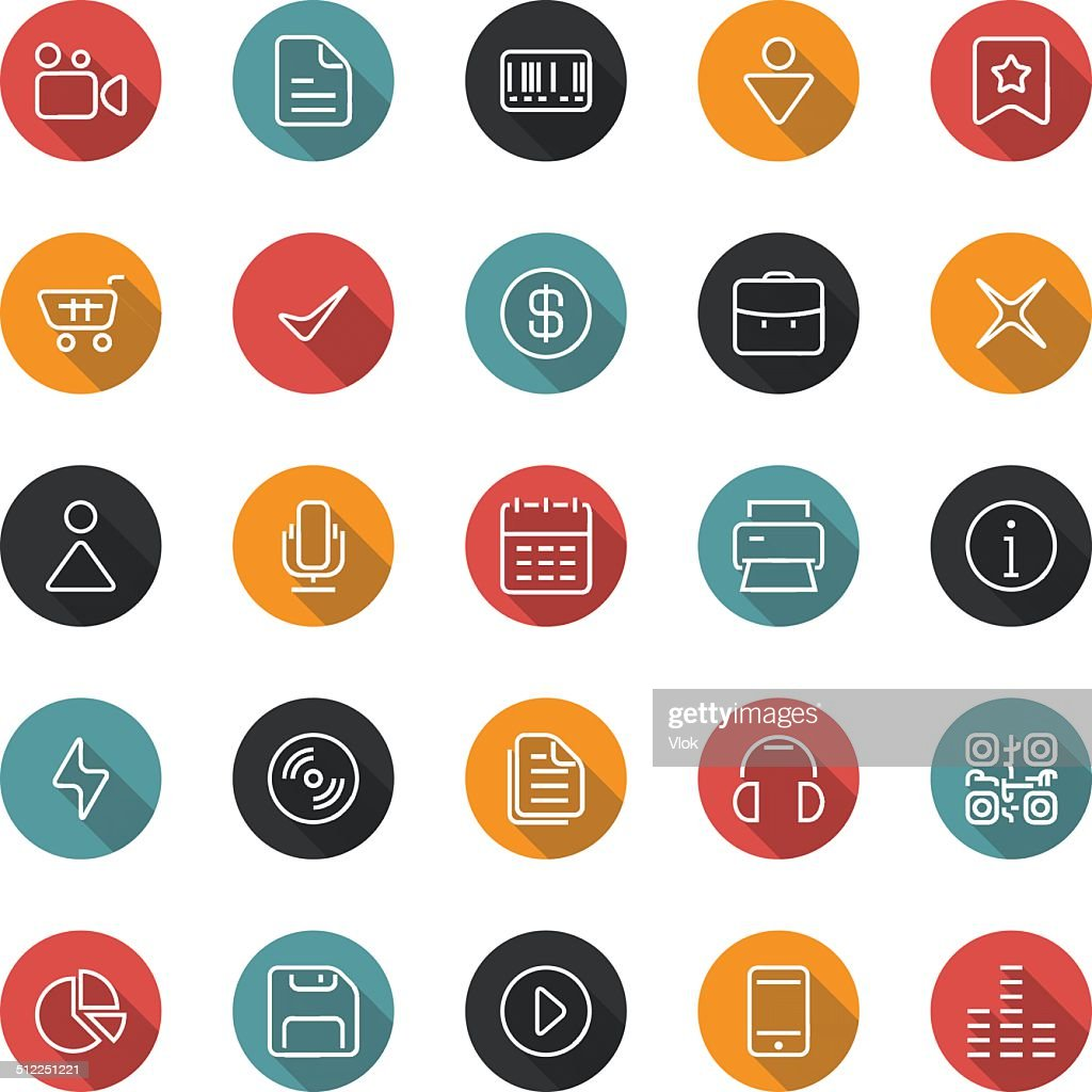 Set of thin icons. Style flat. Vector ui, web, app.