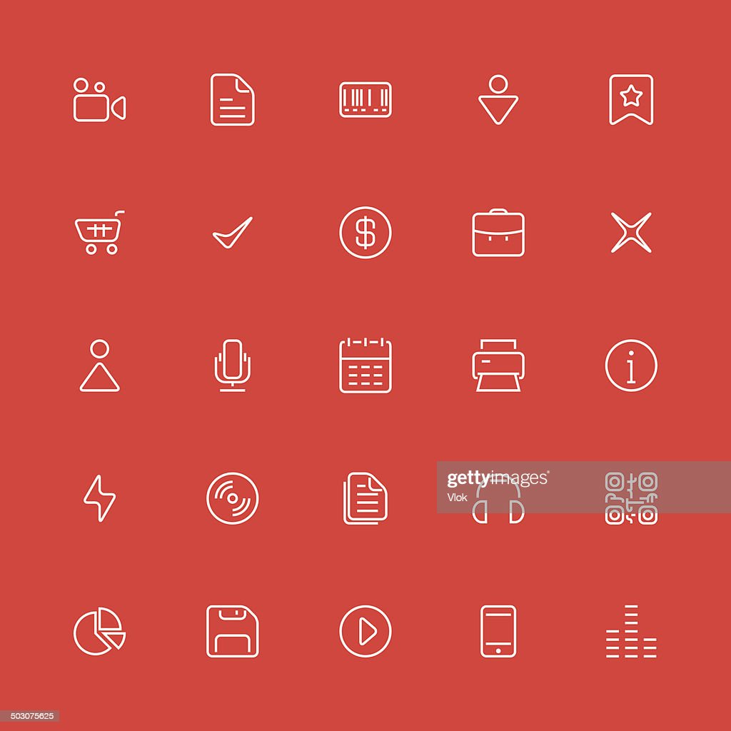 Set of thin icons. Style lines. Vector ui, web, app.