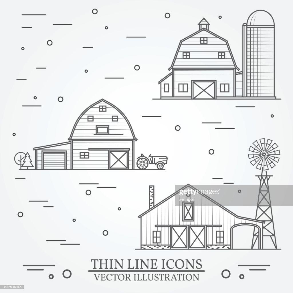 Set of thin line american farm icon