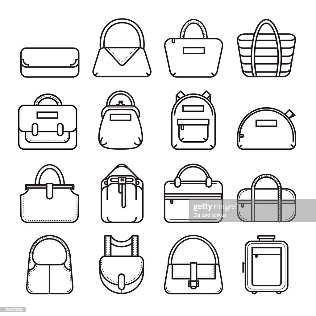 Set of thin line bag icons