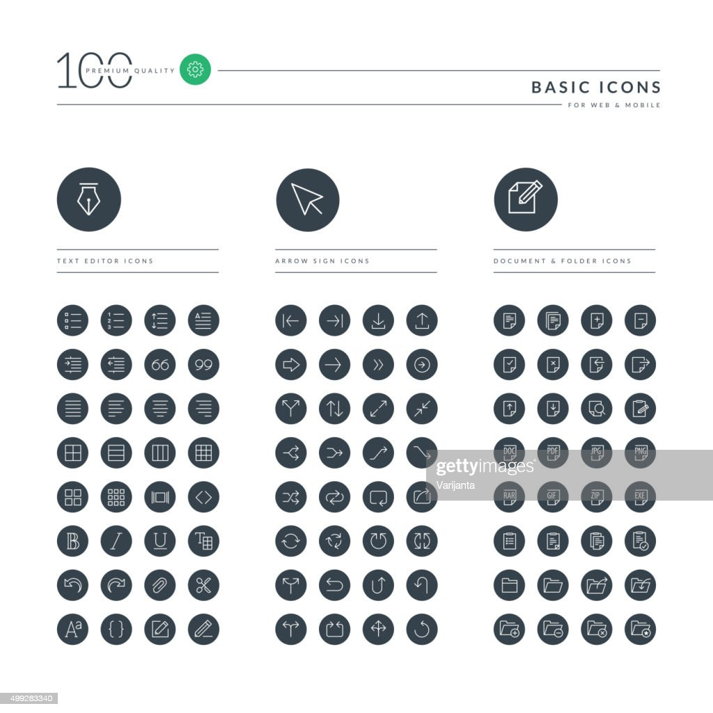 Set of thin line basic web icons