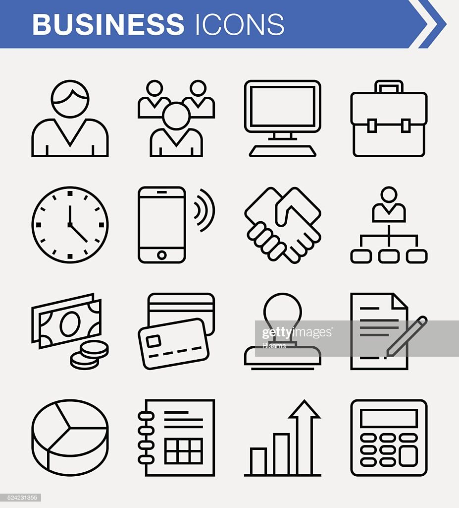 Set of thin line business icons.