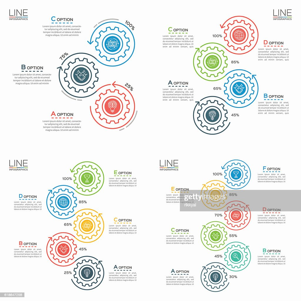 Set of Thin line business infographic templates with gears.