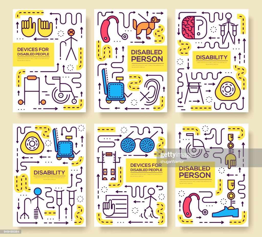 Set of thin line care people pattern concept. Art disabled, magazine, book, poster, abstract, banners, element. Vector world disability day  outline package greeting card or invitation design.