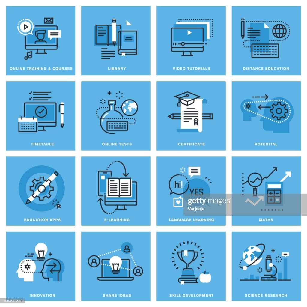 Set of thin line concept icons of distance education