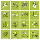 Set of thin line concept icons of environment