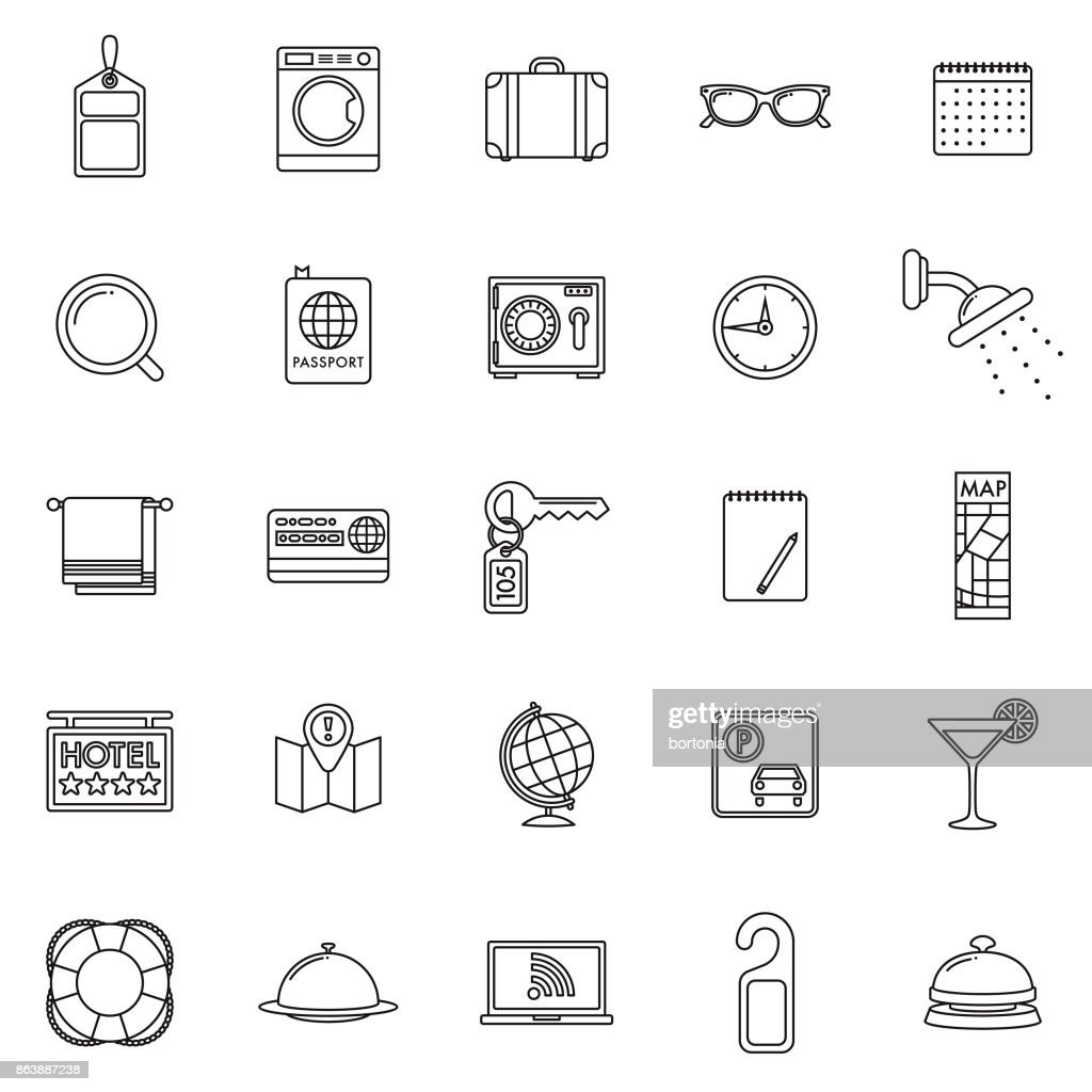 Set of Thin Line Hotel Icons with Side Shadow