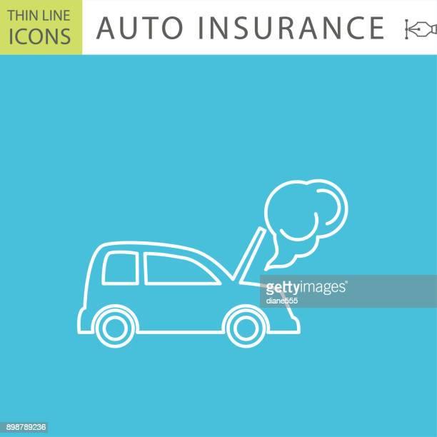 Set Of Thin Line Icon Set - Auto Insurance