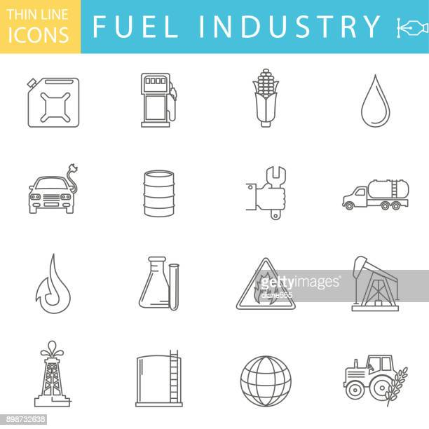 set of thin line icon set - energy industry - oil drum stock illustrations, clip art, cartoons, & icons