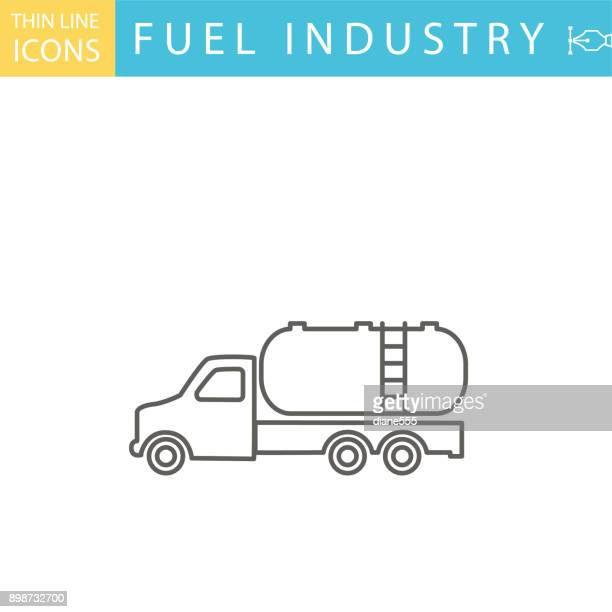 set of thin line icon set - energy industry - oil tanker stock illustrations, clip art, cartoons, & icons
