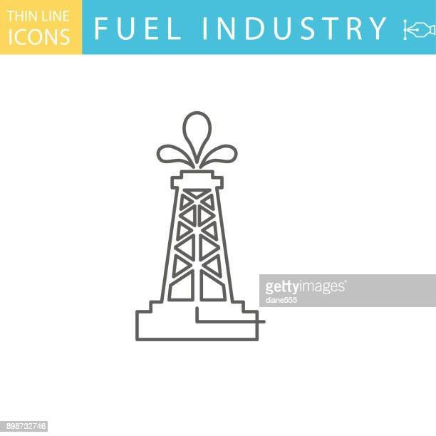 set of thin line icon set - energy industry - drilling rig stock illustrations, clip art, cartoons, & icons