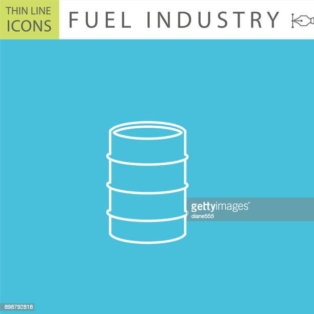 set of thin line icon set - fuel and energy elements - oil drum stock illustrations, clip art, cartoons, & icons