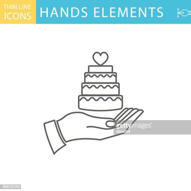 set of thin line icon set - hand holding elements - wedding cake stock illustrations