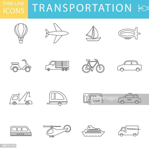 Set Of Thin Line Icon Set - Transportation And Leisure