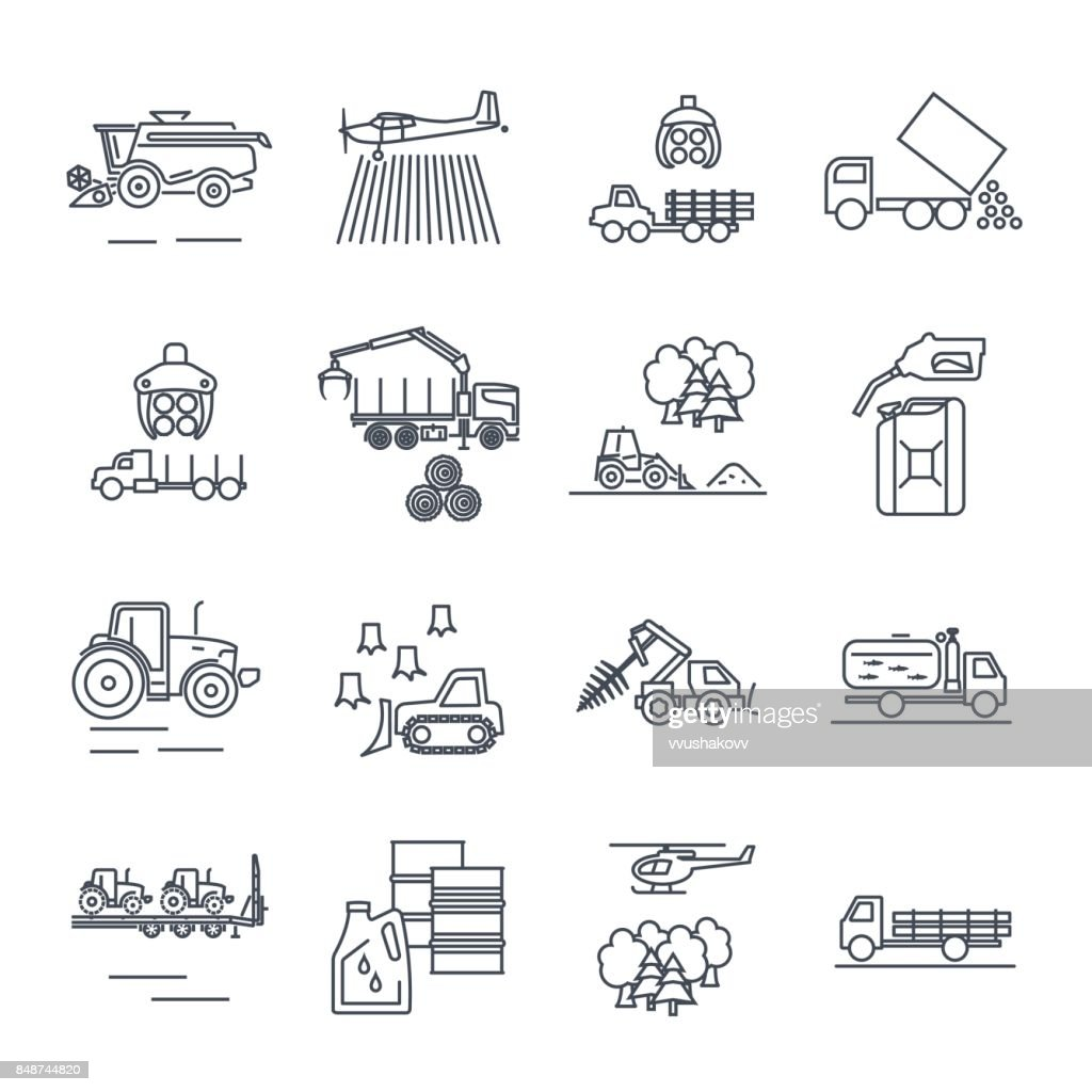 set of thin line icons agricultural machinery, equipment