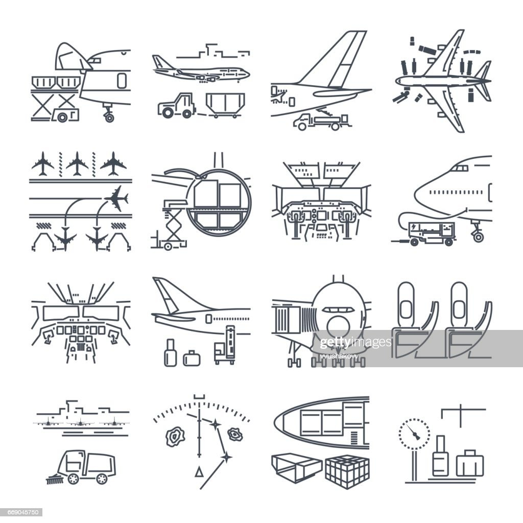 set of thin line icons airport and airplane, freight, cargo