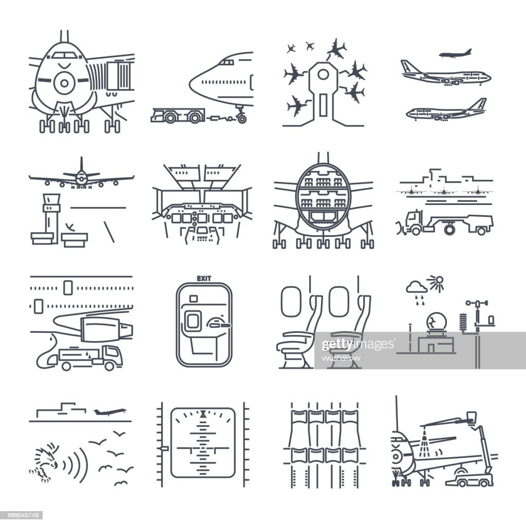 set of thin line icons airport and airplane, ground handling