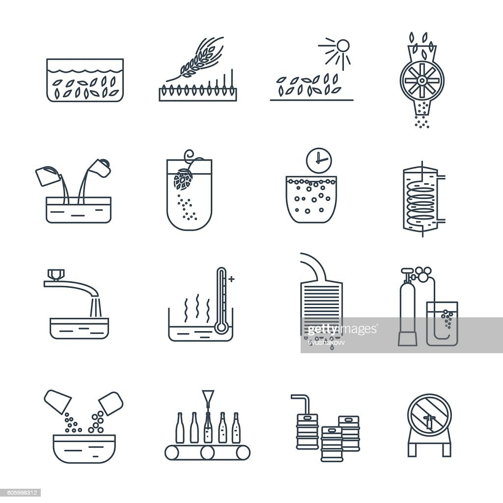 set of thin line icons beer production process