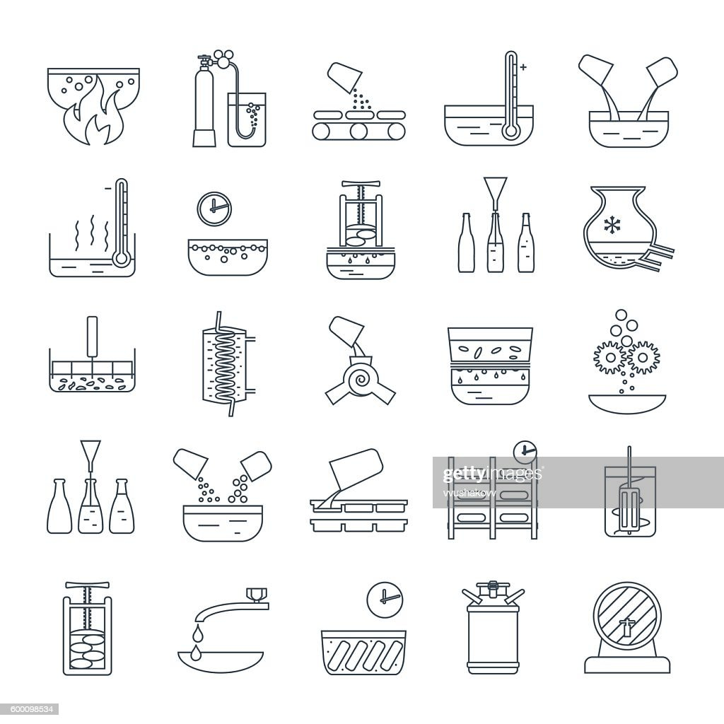set of thin line icons beverage production process