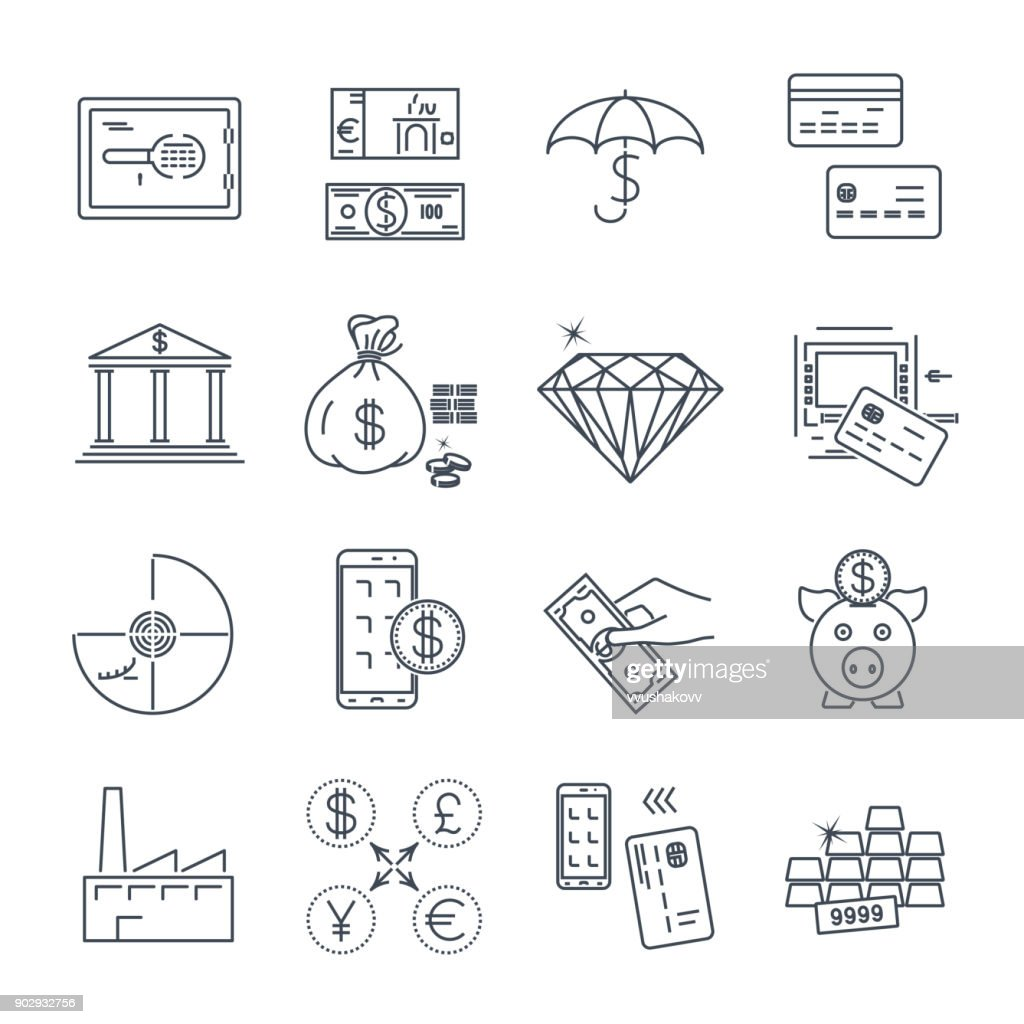set of thin line icons business, finance, money, bank