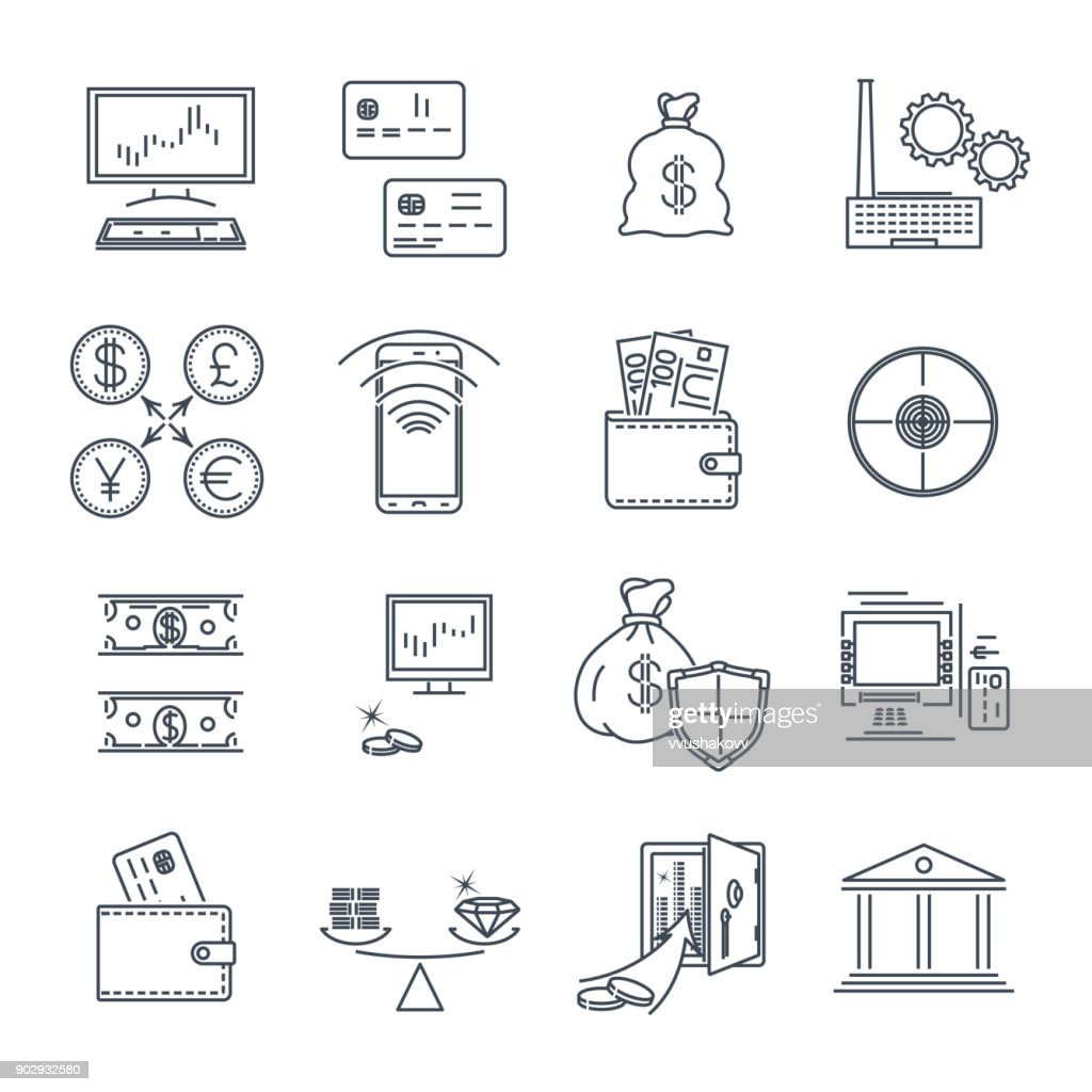 set of thin line icons business, finance, money, coin
