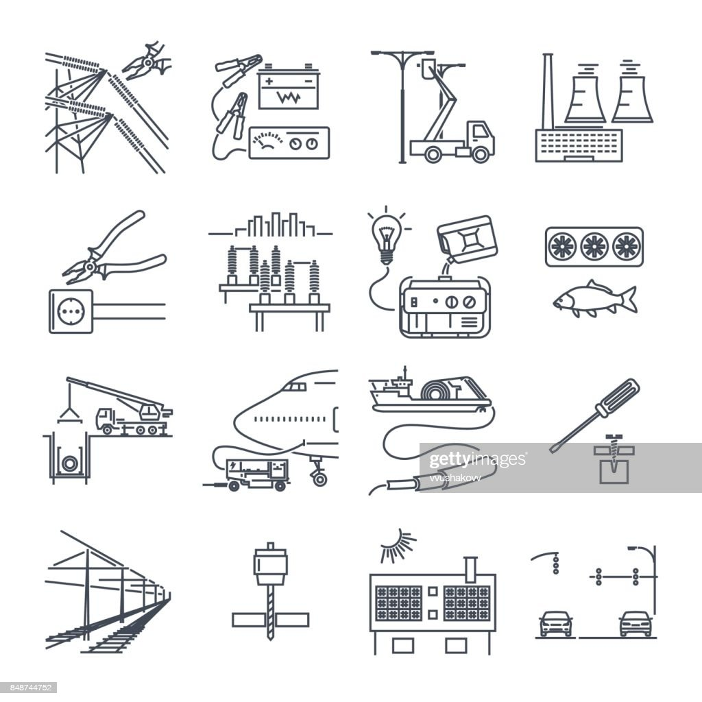 set of thin line icons electrical equipment, technology