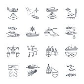 set of thin line icons fishing process